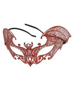 Venezianische Metall-Augenmaske mit Strasssteinen Fledermaus rot