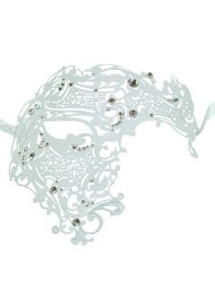 Venezianische Metall-Augenmaske mit Strasssteinen Phantom weiss