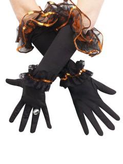 Lange Rüschen-Handschuhe mit Pailletten schwarz-orange