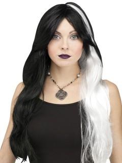 Monster-Braut Halloween-Perücke lang schwarz-weiss