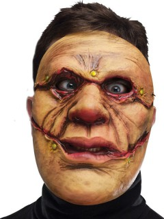 Monster Halloween-Maske beige-rot