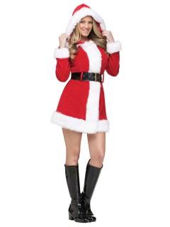 Sexy Miss Santa Weihnachtsfrau Damenkostüm rot-weiss