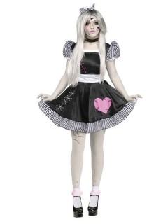 Ragdoll Puppe Halloween Damenkostüm schwarz-weiss