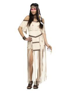 Sexy Wildwest Indianerin Damenkostüm beige