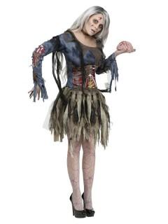 Zombiefrau Halloween Damenkostüm grau-grün
