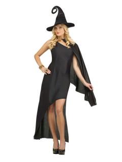 Elegante Hexe Halloween Damenkostüm schwarz