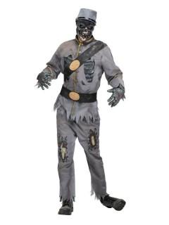 Zombie-Soldat Halloween-Kostüm grau-schwarz