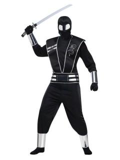 Ninja Kostüm Asia schwarz-silber