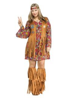 60er 70er Hippie Damenkostüm XXL braun-bunt