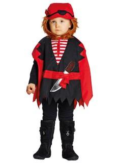Kleiner Pirat Cape Kinderkostüm schwarz-rot