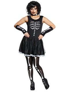 Damenkostüm Skelett-Lady Halloweenschwarz-weiss