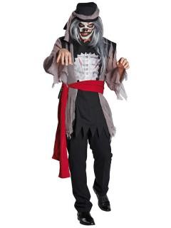 Zombie-Pirat Halloween-Kostüm grau-schwarz