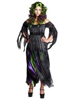 Hexe Magierin Halloween Damenkostüm schwarz-grün