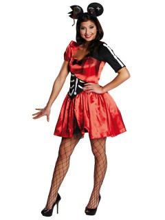 Zombie-Maus Halloween Damenkostüm rot-schwarz