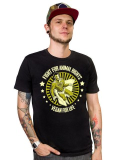 Veganer-Shirt T-Shirt Fight for Animal Rights schwarz-gold
