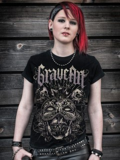 GraveArt-Damenshirt Masquerade Girlie-T-Shirt schwarz