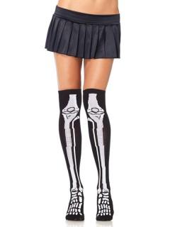 Skelett-Overknee Strümpfe Halloween schwarz-weiss