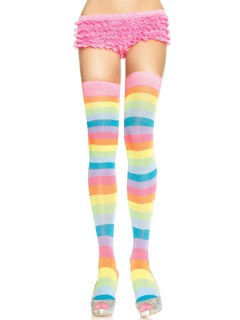 Overknee-Strümpfe Regenbogen Clownfrau bunt