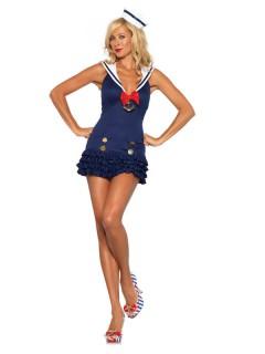 Sexy Matrosin Damenkostüm Sailor Girl dunkelblau-weiss