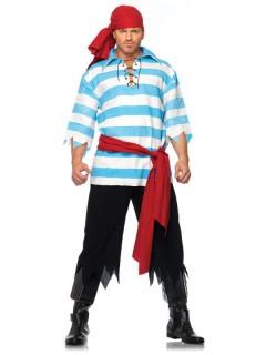 Traditioneller Pirat-Kostüm blau-weiss-schwarz
