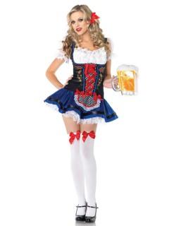Sexy Bayerin Damenkostüm Dirndl schwarz-blau-rot