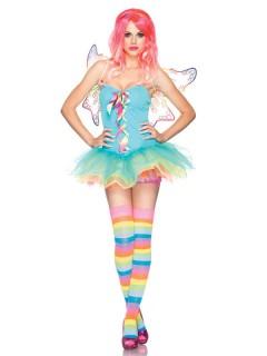 Sexy Regenbogen-Fee Damenkostüm Elfe hellblau-bunt