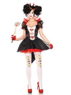 Sexy Herzkönigin Damenkostüm Märchen schwarz-rot-weiss
