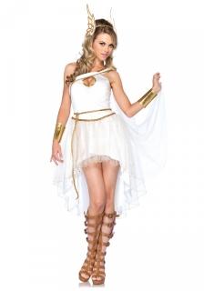 Hermes-Damenkostüm Antike Faschingskostüm creme-gold