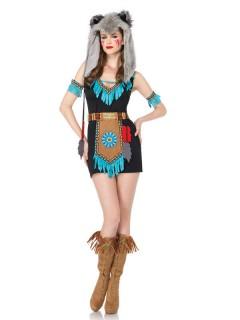 Indianerin Damenkostüm Wolf Wild West braun-türkis
