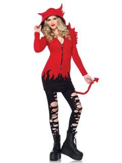 Freches Teufelin-Kostüm für Damen rot-schwarz