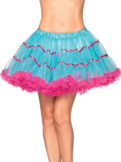 Tüll-Petticoat Rüschen und Satinbänder türkis-pink