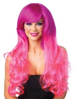 Candy Langhaar-Perücke Locken fuchsia-pink