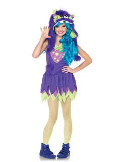Süßes Monster Teen-Kostüm lila-grün