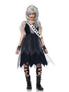 Zombie Ballkönigin Teen-Kostüm schwarz-grau