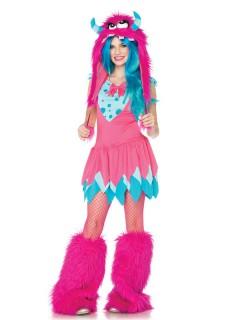 Süßes Monster Teen-Kostüm pink-türkis