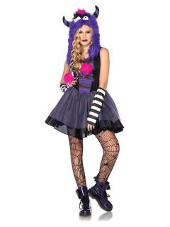 Punk Monster Teen-Kostüm schwarz-lila