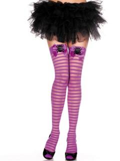Gothic Overknee-Strümpfe Schleifen und Spinnen Halloween lila-schwarz