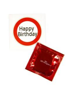 Geburtstag Kondom Happy Birthday Geburtstagsgeschenk rot-weiss