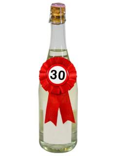 30. Geburtstag Rosette Flaschendeko rot-weiss-schwarz 14x8cm