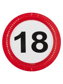 18. Geburtstag Geburtstag Pappteller 8 Stück rot-weiss-schwarz 23cm