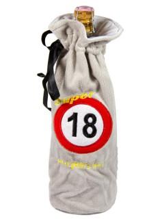 18. Geburtstag Flaschen-Deko Flaschenbeutel grau 30cm