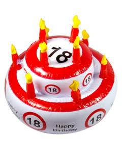 18. Geburtstag Geburtstagstorte aufblasbar weiss-rot-schwarz 29x26cm
