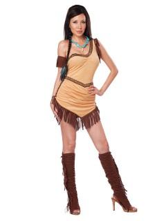 Sexy Indianerin Damenkostüm Kleid beige-braun