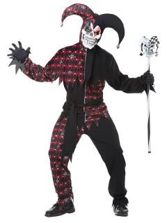Killer-Clown-Kostüm für Herren Harlekin Halloween-Kostüm schwarz-rot