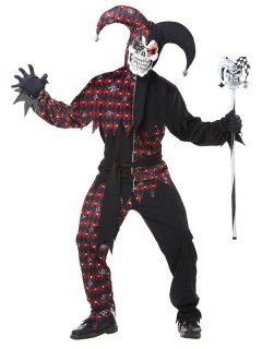 Böser Clown Harlekin Halloween-Kostüm schwarz-rot