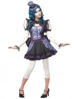 Zerbrochene Puppe Halloween Damenkostüm schwarz-lila