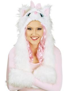 Katze Plüschmütze mit Handwärmern weiss-rosa