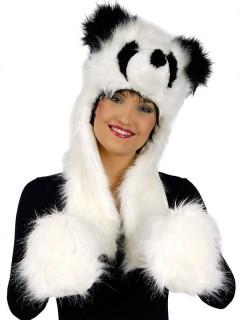Panda Plüschmütze mit Handwärmern schwarz-weiss