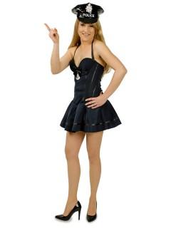 Sexy Polizistin Damenkostüm Trägerkleid schwarz