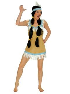 Sexy Indianerin Damenkostüm braun-hellblau